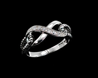 Infinity Ring Clear Zircons Oxidized .925 STERLING SILVER