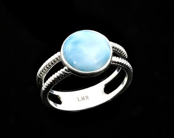 10mm Larimar Stunning Bezel Set Passion Ring .925 Sterling Silver Size 7