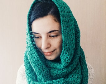 Green crochet infinity scarf snood , knit hood cowl, hand knit snood hood