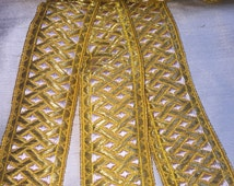 Beautiful vintage 2 3/8 inch German woven metallic thread ribbon, heavy and dense gold and white waffle pattern