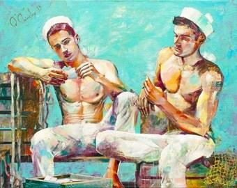 Art Print of Original Painting · Digital Download · Sailors · Contemporary Art · Large Wall Art