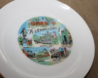 Williamsburg, Virginia, Decorative Plate w Landmarks Like Governor's Palace, Jamestown Church Tower, Wren Building, etc., Collectible, Decor