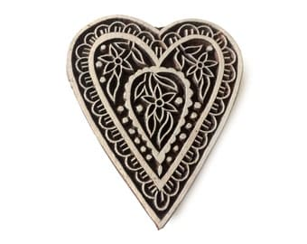 Heart Shape Wood Stamp Indian Carved Wood Block Stamp Tjaps Scrapbook Clay Stamp Pottery Stamp Batik Fabric Printing Stamp FREE SHIPPING