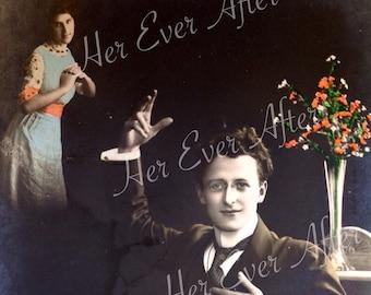 Wherefore art thou, Romeo? // Original quirky antique RPPC romance postcard // Vintage photo of romantic couple