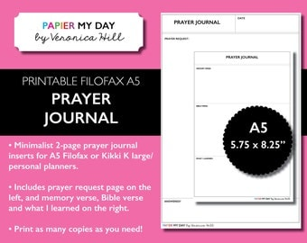 A5 Filofax Prayer Journal - Printable Prayer Journal for Filofax and Kikki K planners