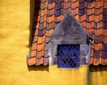 Leaded Glass Window Fine Art Photography Wall Photo Print, Yellow Stone House Roof Shingles Home Building Europe Urban Landscape
