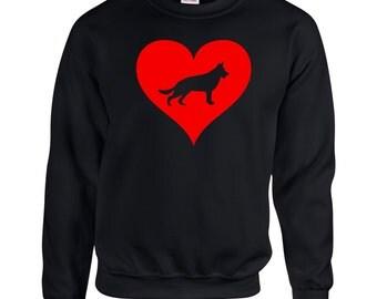Love Heart German Shepherd Sweatshirt .Crewneck Sweatshirt. Dog Breed Sweatshirts. Love Heart Sweatshirt.