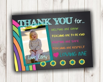 Chalkboard Style Thank You Card for Teacher or Child Care Provider - 5 X 7 or 4 X 6 Digital Printable File