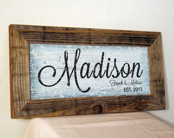 Personalized Family Name Sign. Light Blue & Black. Custom Signs. Reclaimed Wood Frame. Established Family Sign. Rustic. Wedding Gift. 20x10