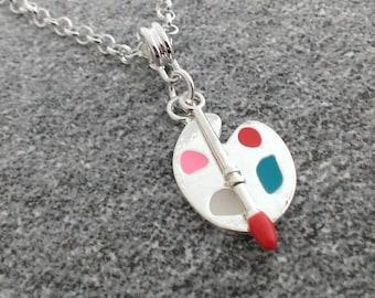 Fun artist palette necklace - kitsch girly kawaii painter