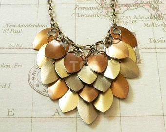 Scale Mail Necklace - Scalemail Necklace - Bronze Necklace - Chainmail Necklace - Statement Necklace