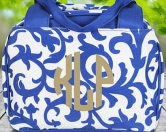 Royal Blue Ivy Damask Insulated Bowler Style Lunch Bag