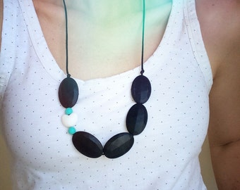 Silicone Teething Necklace - Dreamy (Black, White and Aqua)