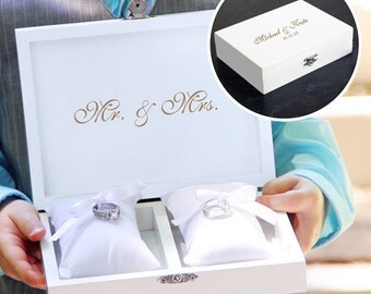 Personalized Wedding Ring Storage Box with Pillows White