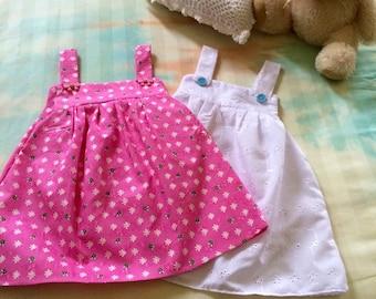 6-12 month old toddler girls summer dresses pink white