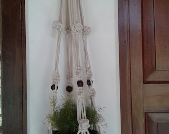 "Free shipping -53"" Natural cotton macrame hanging planter / pot holder/ bird feeder/  indoor / outdoor,rope plant hanger,Ecru"