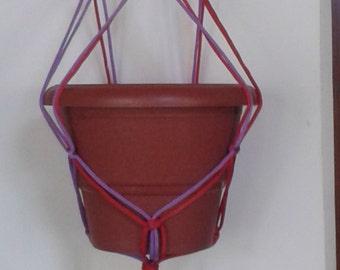 """polycord macrame plant hanger 41"""" / Bicolour pot holder / pink purple plant holder / hanging planter  indoor / outdoor / bird feeder."""