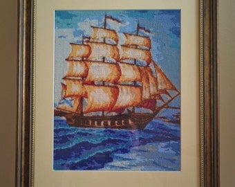 "Cross stitch framed picture ""Ship"""