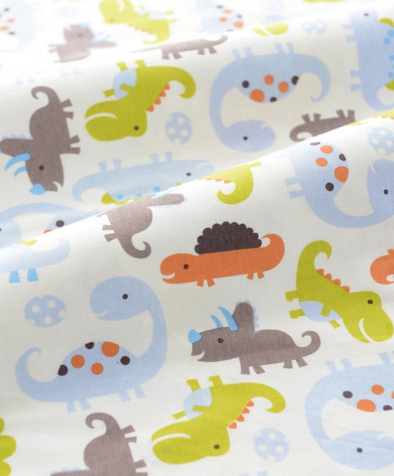 Items similar to cute baby knit fabric colorful dinosaur for Baby dinosaur fabric
