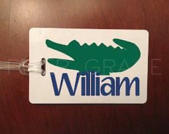 Alligator Luggage Tag, Alligator Baby Shower, Preppy Lanyard, Personalized Luggage Tag, Personalized Bag Tag, Custom Luggage Tags