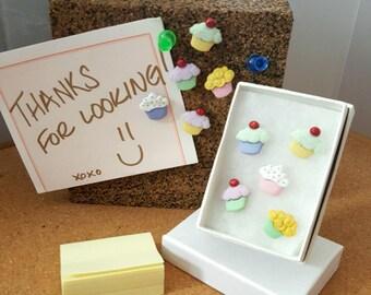 "Handmade ""Fun Tacks"" - Thumb Tacks - Cupcakes"