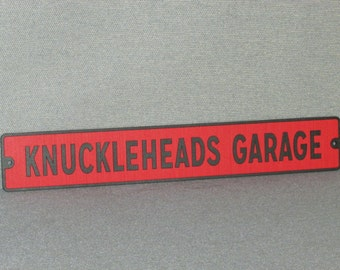 Knuckleheads Garage wood wall sign Red and Black man cave garage art