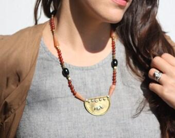 Vintage Carnelian Medallion Necklace. Brass Necklace, Semi-Precious Stones, Carnelian, Onyx, Tribal Necklace