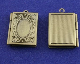 "2 pcs - Small Book Locket, 26mm x 19mm( 1"" x 3/4"") Antiqued Brass Locket, Small Locket - AB-B22666H-8S"