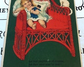 Antique German Embossed Postcard, Little Girl in Red Chair