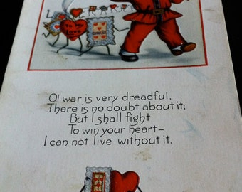Vintage Embossed Soldier Boy Valentine Post Card