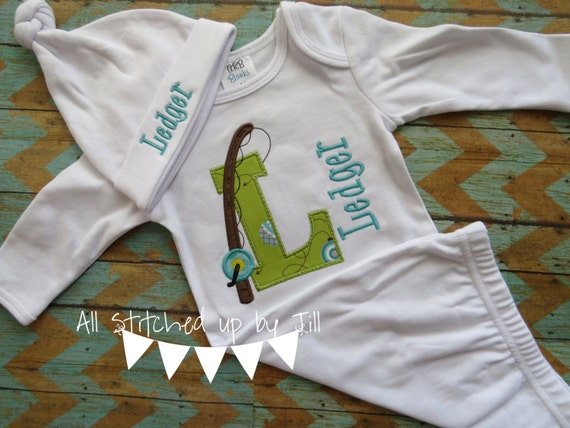 Fishing Theme Baby Boy Set Baby Boy Gown by