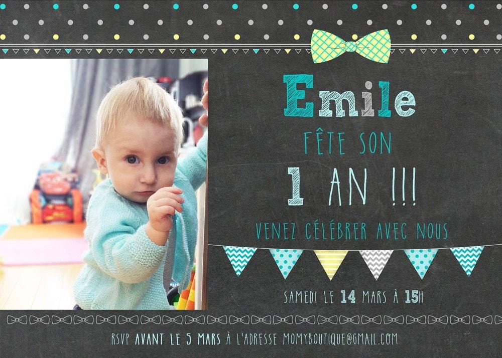 Carte d 39 invitation 1er anniversaire par momyboutique sur etsy - Carte anniversaire 1 ans a imprimer ...