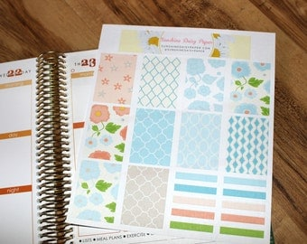 Blue and Peach Floral Decorative Planner Stickers! Set of 20 planner stickers (031)
