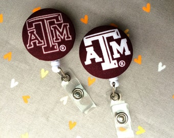 Texas A&M Fabric Covered Badge Reel ID Holder