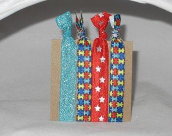 Set of 4 AUTISM hair tie set