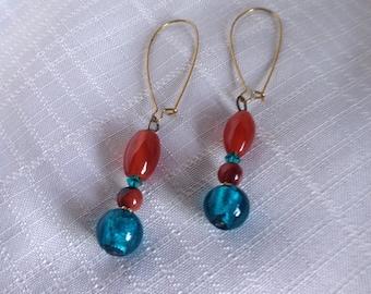 Carnelian and Turquoise Glass Earrings