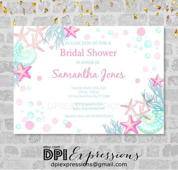 Beach bridal shower invitation sea shells under the sea invitations il570xn filmwisefo