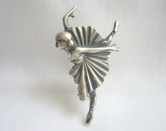 Ηandmade Ballarina Brooch-Sterling Silver 925-Oxidized and Satin Finish