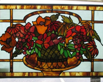 Basket Of Flowers--# 38--Stained Glass Panel