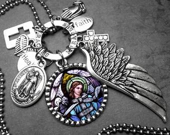 Archangel St. Raphael The Healer Picture Pendant & Multi Charm Necklace Catholic Jewelry, Baptism Gift