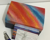 SALE - Recipe box - Hand painted wooden 'Sunset stripe'  20 recipe cards and pen included. Free UK delivery.