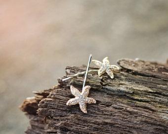 Gold Starfish Bobby Pins, Starfish Hair Pins, Beach Wedding, Rhinestone Starfish, Destination Wedding, Bridesmaid Gift, Adult, Flower Girl