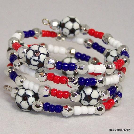 world cup soccer bracelet beaded soccer by teamsportsjewelry