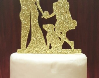 Dancing Bride and Groom Silhouette Wedding Cake Topper with daughter and dog Dancing Cake Topper family kids dog cake topper dog topper