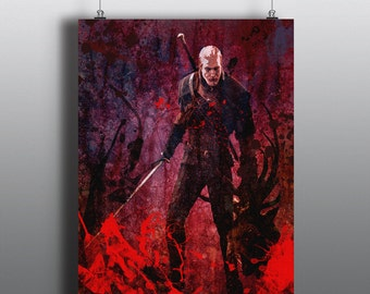 The Witcher 3: Wild Hunt - Art Print, Geralt of Rivia, Wiedźmin, Game Inspired Painting, Spray Paint Art, Mixed Media Poster No52