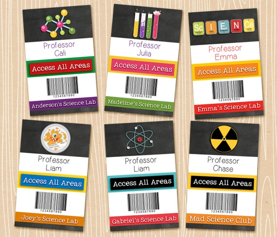 Science Badges. Personalized science party badges. Printable digital