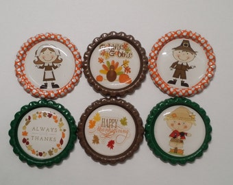 Set of 6 Fall Autumn Thanksgiving Finished Bottle Caps