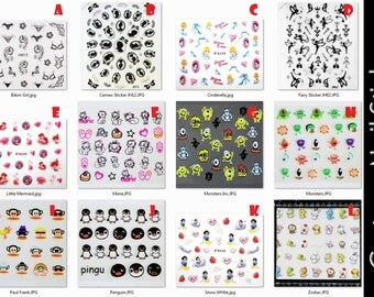 Cartoon Nail Art Stickers disney princess cinderella snow white ariel little mermaid fairies fairy penguin zodiac animals monster inc cameo