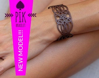 NEW MODEL!!!Leather Bracelet cuff, Leather Cuff, Ladies Leather Bracelets, chocolate brown no36