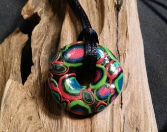 Multicolor Polymer Clay Donut Pendant necklace